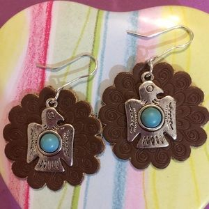 LEATHER CONCHO EARRINGS with TURQUOISE THUNDERBIRD
